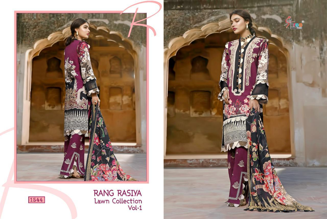 Shree Fabs Rang Rasiya Lawn Collection Vol 1 Salwar Suit Wholesale Catalog 7 Pcs 12 - Shree Fabs Rang Rasiya Lawn Collection Vol 1 Salwar Suit Wholesale Catalog 7 Pcs