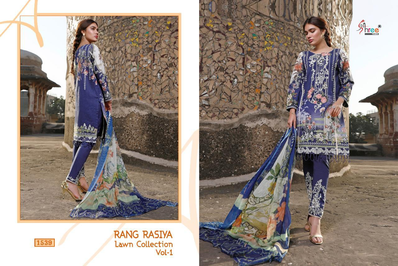 Shree Fabs Rang Rasiya Lawn Collection Vol 1 Salwar Suit Wholesale Catalog 7 Pcs 5 - Shree Fabs Rang Rasiya Lawn Collection Vol 1 Salwar Suit Wholesale Catalog 7 Pcs