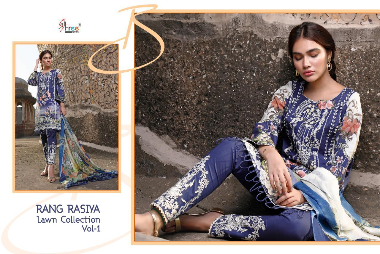 Shree Fabs Rang Rasiya Lawn Collection Vol 1 Salwar Suit Wholesale Catalog 7 Pcs 6 - Shree Fabs Rang Rasiya Lawn Collection Vol 1 Salwar Suit Wholesale Catalog 7 Pcs