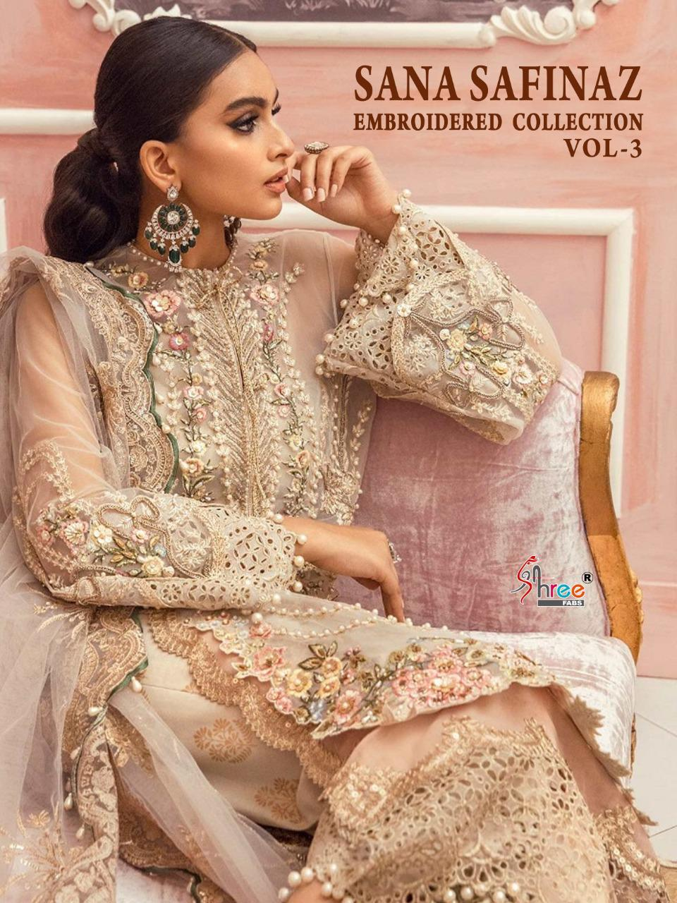 Shree Fabs Sana Safinaz Embroidered Collection Vol 3 Salwar Suit Wholesale Catalog 4 Pcs 1 - Shree Fabs Sana Safinaz Embroidered Collection Vol 3 Salwar Suit Wholesale Catalog 4 Pcs