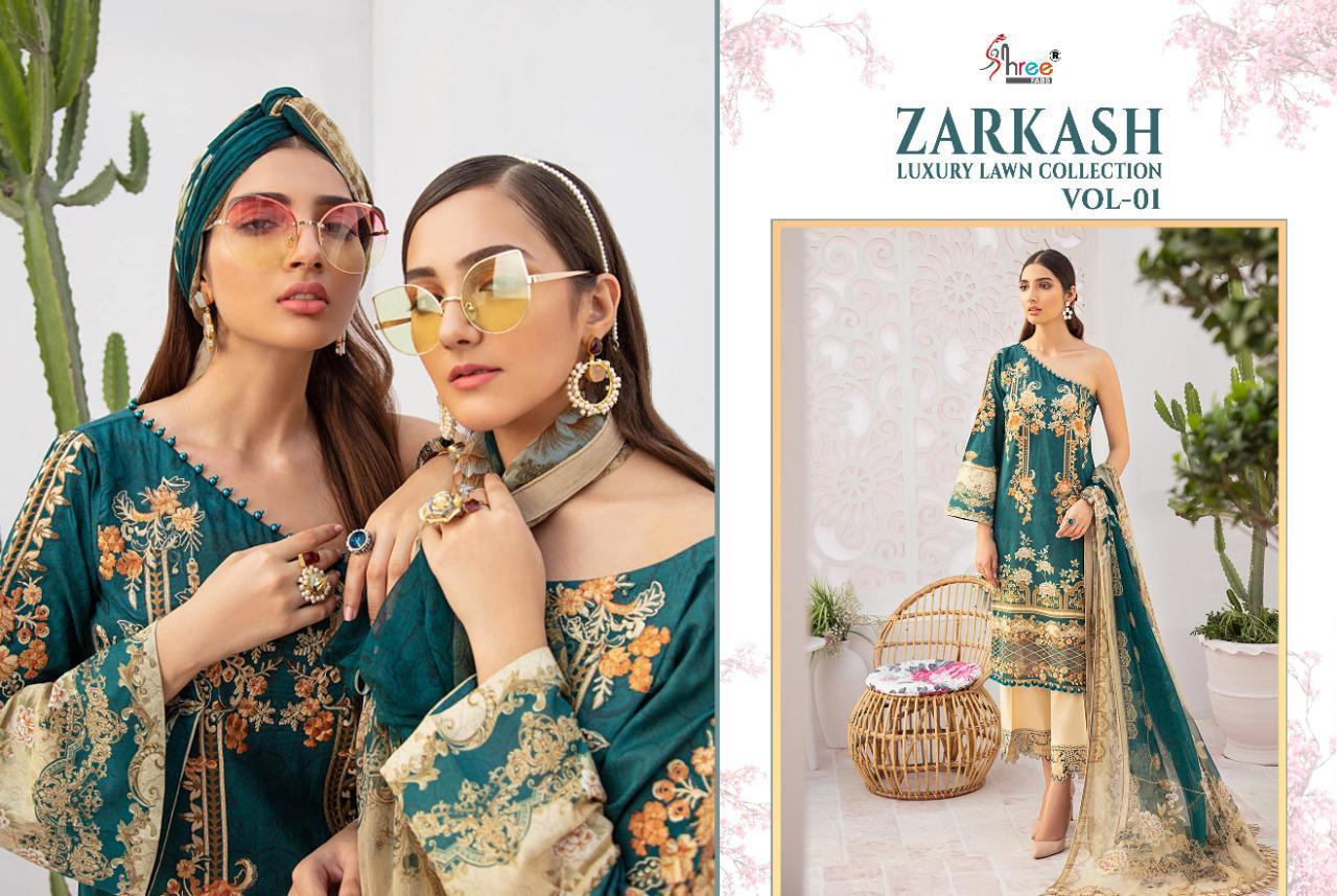 Shree Fabs Zarkash Luxury Lawn Collection Vol 1 Salwar Suit Wholesale Catalog 8 Pcs 4 - Shree Fabs Zarkash Luxury Lawn Collection Vol 1 Salwar Suit Wholesale Catalog 8 Pcs