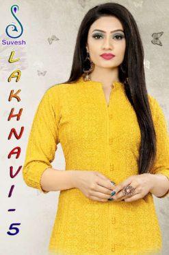 Suvesh Lakhnavi Vol 5 Chikan Work Kurti Wholesale Catalog 6 Pcs