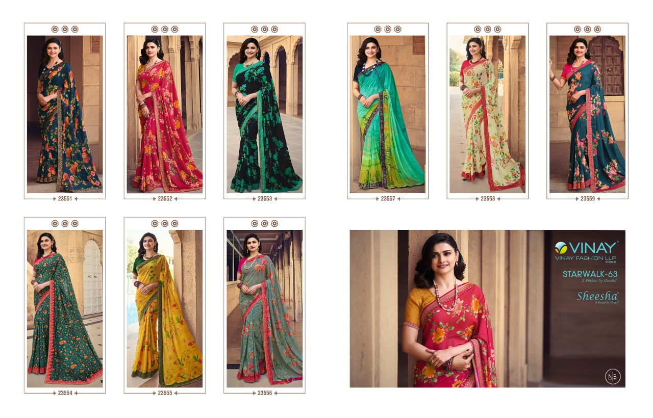 Vinay Sheesha Starwalk Vol 63 Digital Saree Sari Wholesale Catalog 9 Pcs 13 - Vinay Sheesha Starwalk Vol 63 Digital Saree Sari Wholesale Catalog 9 Pcs