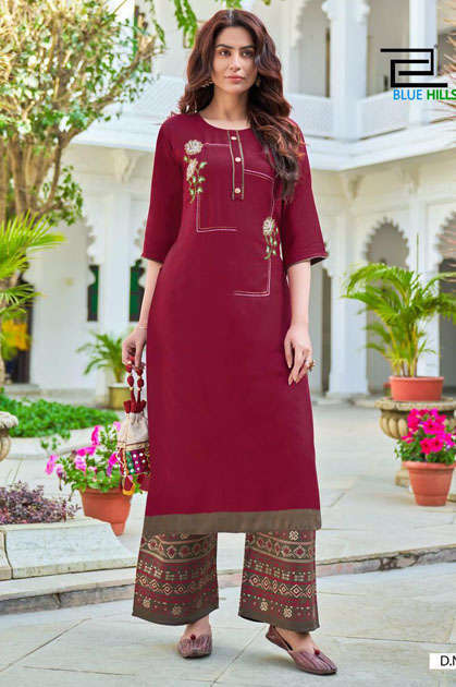 Blue Hills Party Women Kurti with Palazzo Wholesale Catalog 8 Pcs