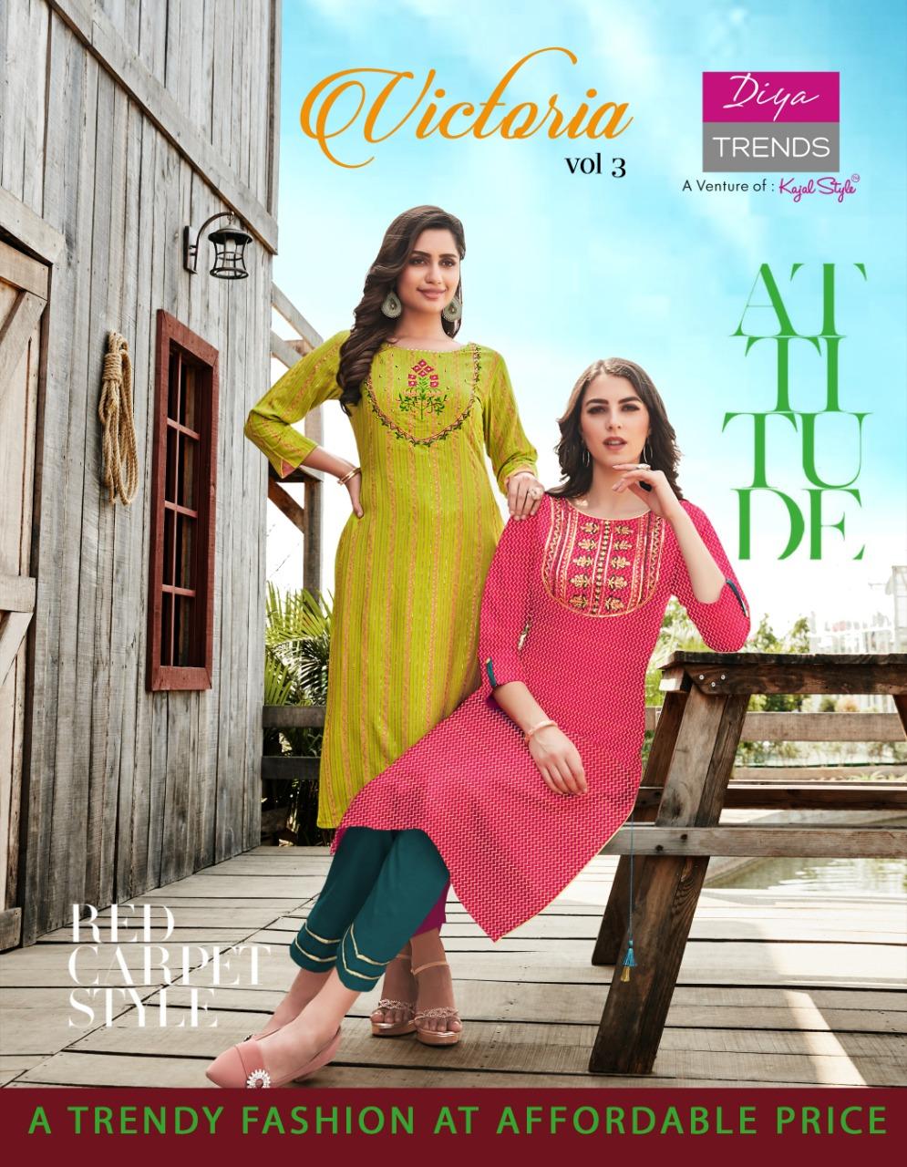 Diya Trends Victoria Vol 3 by Kajal Style Kurti Wholesale Catalog 12 Pcs 1 - Diya Trends Victoria Vol 3 by Kajal Style Kurti Wholesale Catalog 12 Pcs