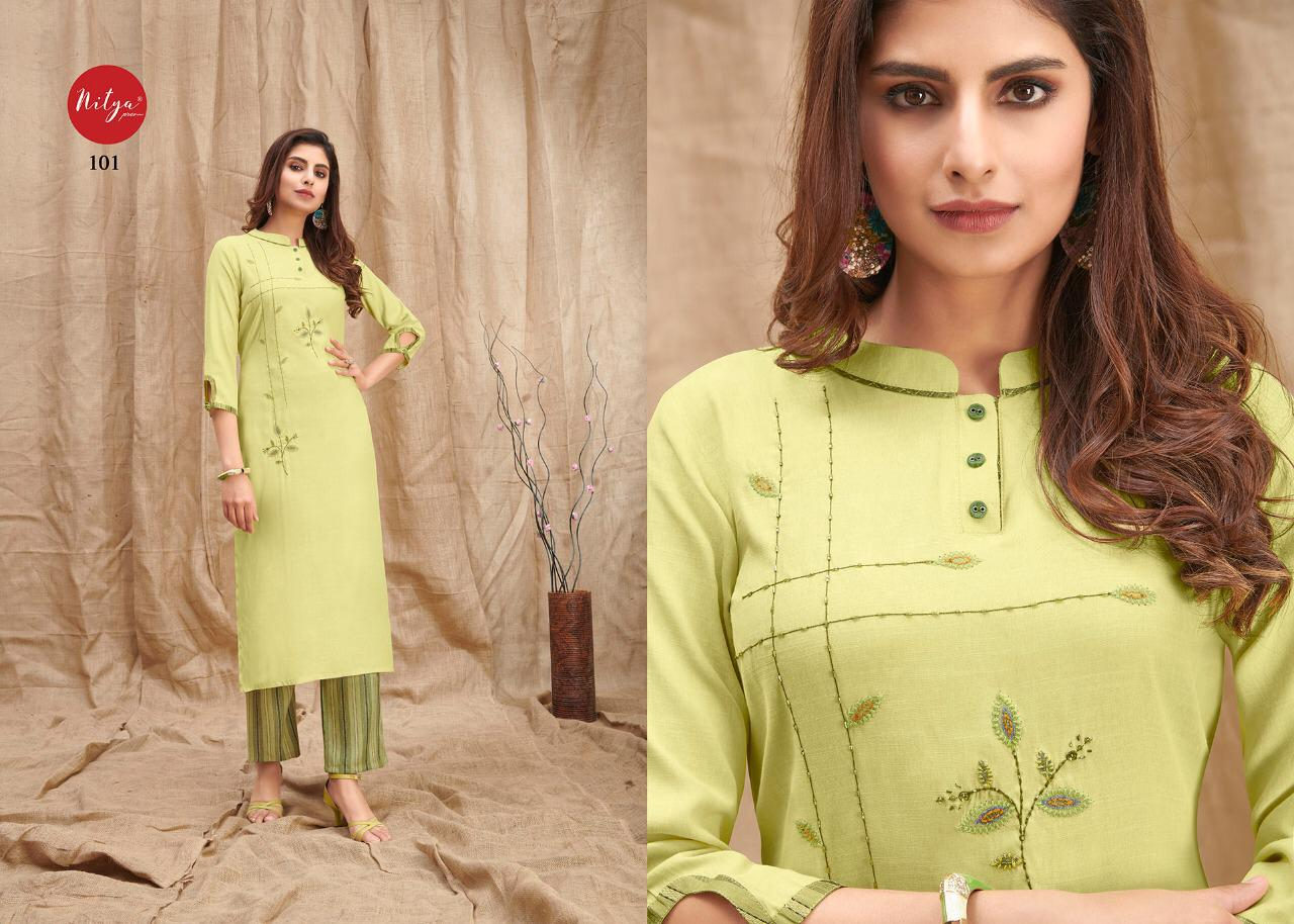Lt Fabrics Nitya Melody Kurti with Palazzo Wholesale Catalog 8 Pcs 1 - Lt Fabrics Nitya Melody Kurti with Palazzo Wholesale Catalog 8 Pcs