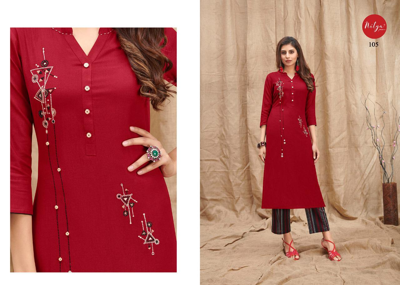 Lt Fabrics Nitya Melody Kurti with Palazzo Wholesale Catalog 8 Pcs 7 - Lt Fabrics Nitya Melody Kurti with Palazzo Wholesale Catalog 8 Pcs