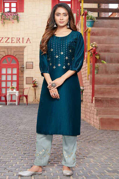 Luxuria Sitara Kurti with Pant Wholesale Catalog 5 Pcs