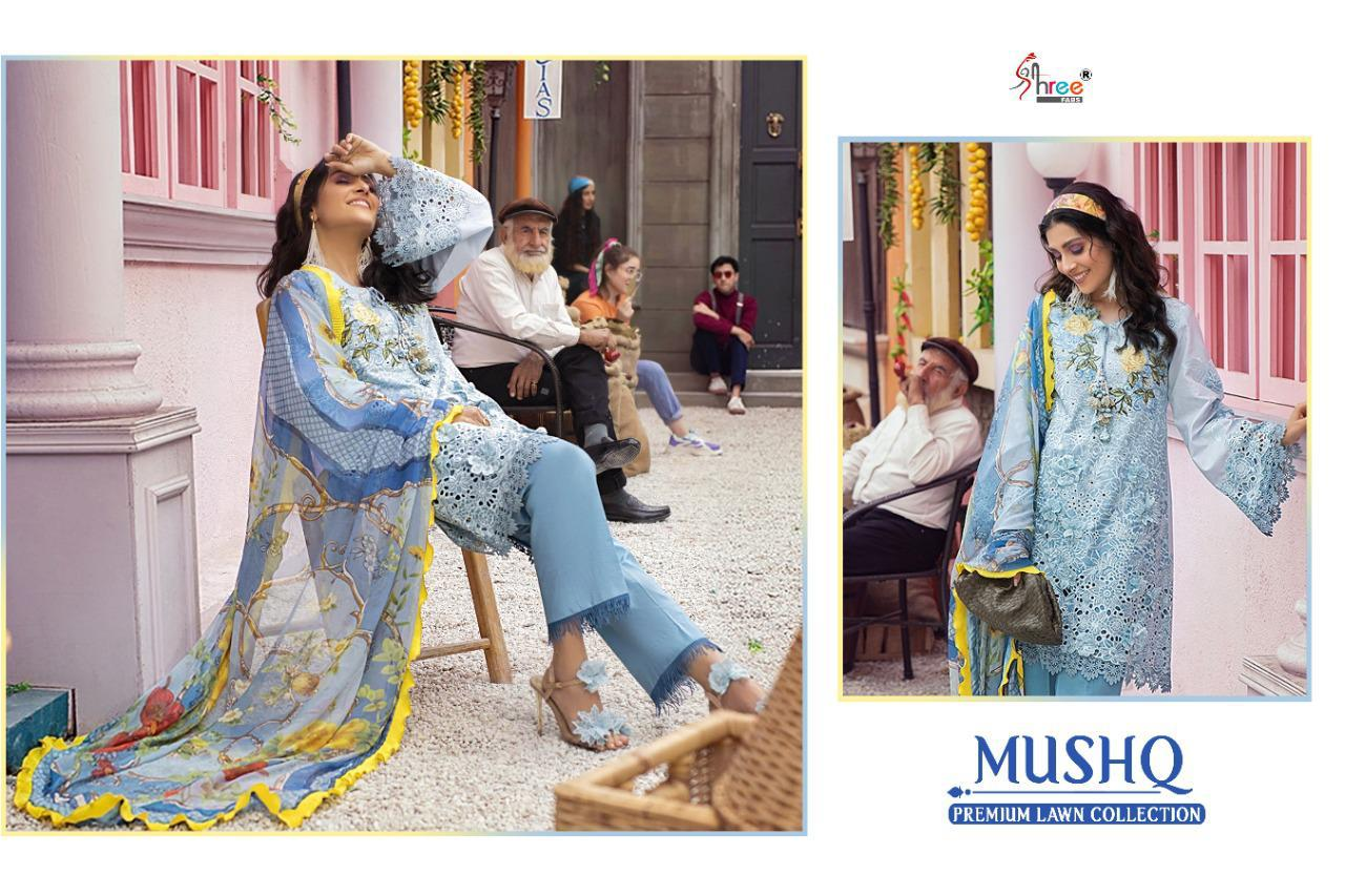 Shree Fabs Mushq Premium Lawn Collection Salwar Suit Wholesale Catalog 5 Pcs 4 - Shree Fabs Mushq Premium Lawn Collection Salwar Suit Wholesale Catalog 5 Pcs