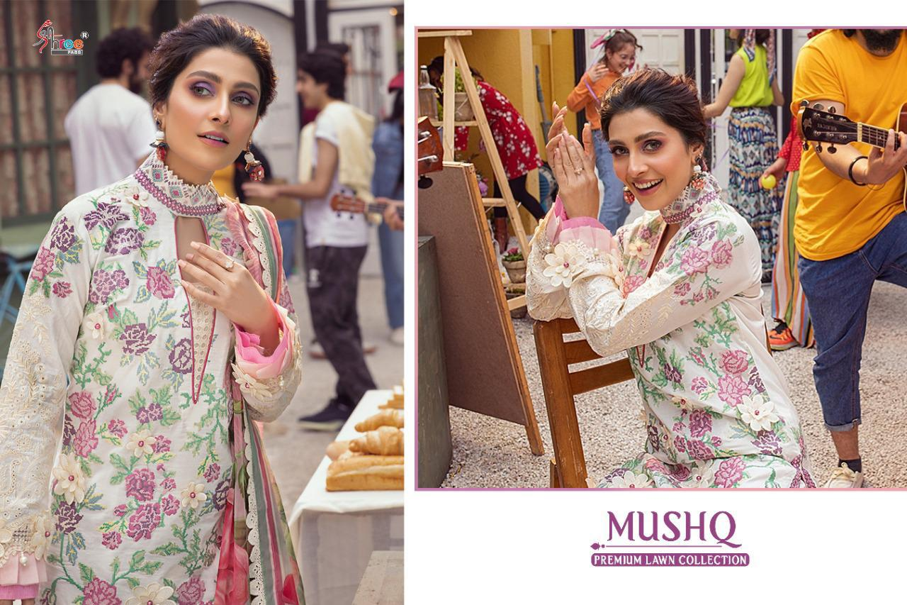 Shree Fabs Mushq Premium Lawn Collection Salwar Suit Wholesale Catalog 5 Pcs 9 - Shree Fabs Mushq Premium Lawn Collection Salwar Suit Wholesale Catalog 5 Pcs
