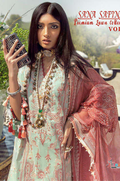 Shree Fabs Sana Safinaz Premium Lawn Collection Vol 3 Salwar Suit Wholesale Catalog 8 Pcs