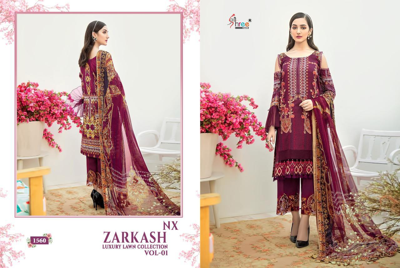 Shree Fabs Zarkash Luxury Lawn Collection Vol 1 Nx Salwar Suit Wholesale Catalog 3 Pcs 2 - Shree Fabs Zarkash Luxury Lawn Collection Vol 1 Nx Salwar Suit Wholesale Catalog 3 Pcs