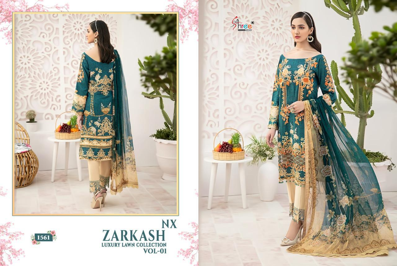 Shree Fabs Zarkash Luxury Lawn Collection Vol 1 Nx Salwar Suit Wholesale Catalog 3 Pcs 4 - Shree Fabs Zarkash Luxury Lawn Collection Vol 1 Nx Salwar Suit Wholesale Catalog 3 Pcs