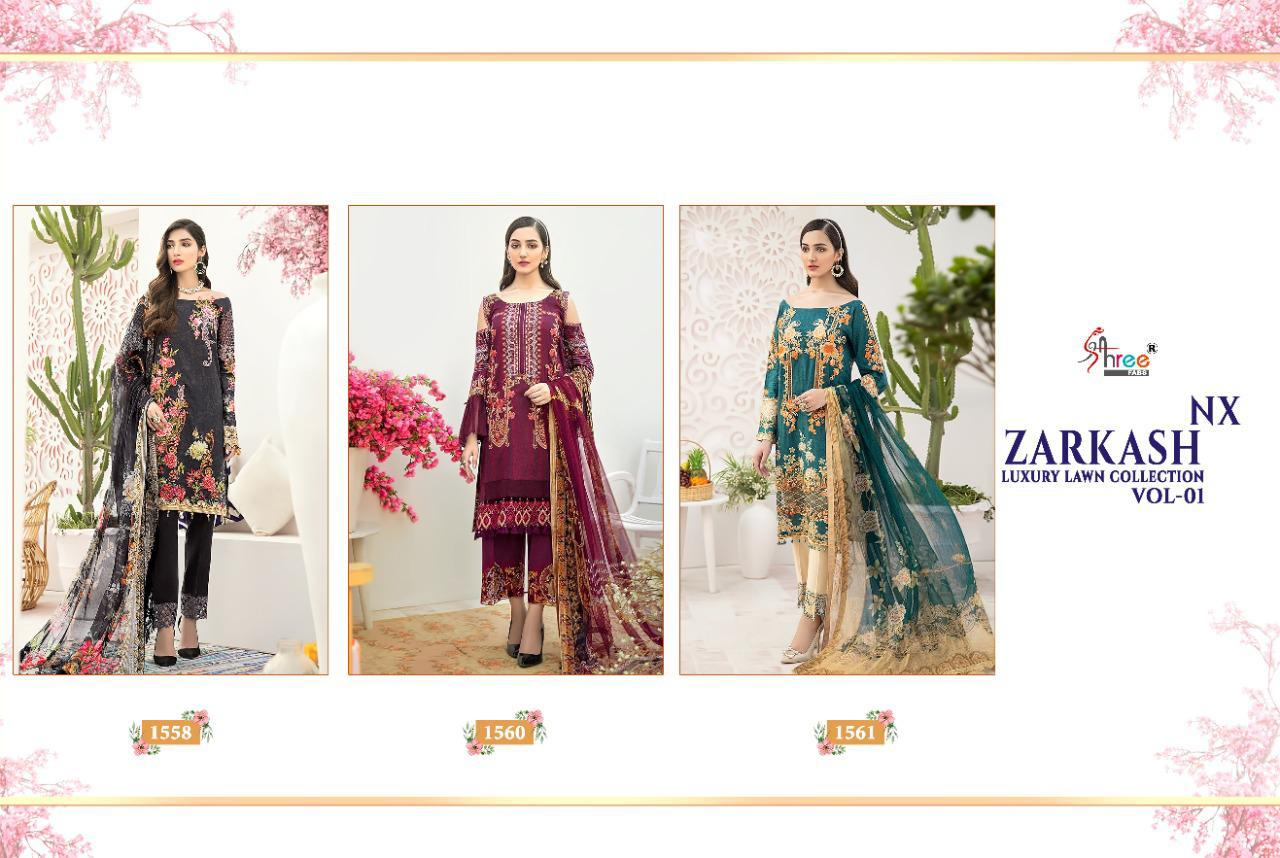 Shree Fabs Zarkash Luxury Lawn Collection Vol 1 Nx Salwar Suit Wholesale Catalog 3 Pcs 5 - Shree Fabs Zarkash Luxury Lawn Collection Vol 1 Nx Salwar Suit Wholesale Catalog 3 Pcs