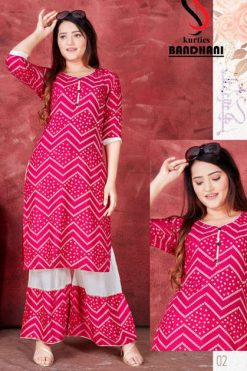 Bandhani Kurti with Sharara Wholesale Catalog 8 Pcs