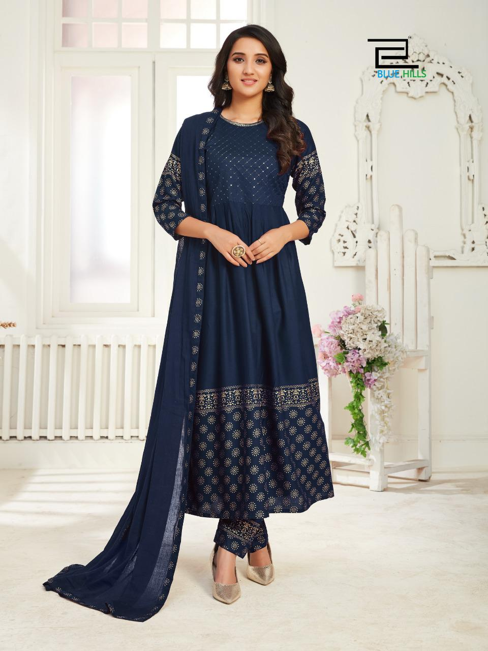 Blue Hills Dholna Kurti with Dupatta Bottom Wholesale Catalog 5 Pcs 3 - Blue Hills Dholna Kurti with Dupatta Bottom Wholesale Catalog 5 Pcs