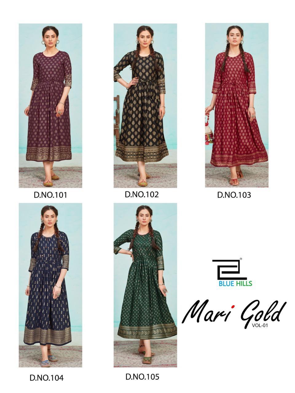 Blue Hills Mari Gold Vol 1 Kurti Wholesale Catalog 5 Pcs 8 - Blue Hills Mari Gold Vol 1 Kurti Wholesale Catalog 5 Pcs