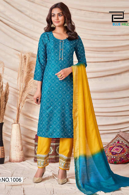 Blue Hills Skyline Vol 1 Kurti with Dupatta Bottom Wholesale Catalog 8 Pcs