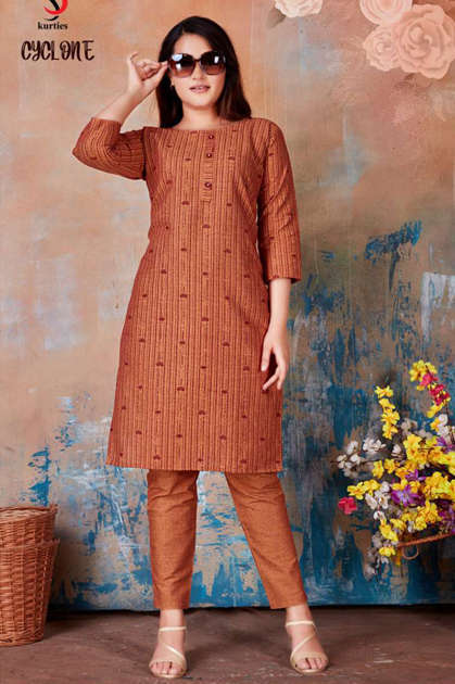 Cyclone Kurti with Pant Wholesale Catalog 6 Pcs