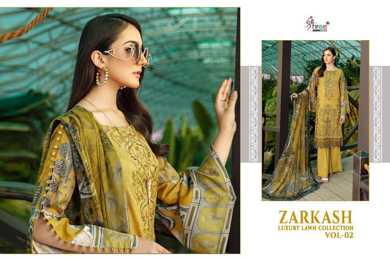 Shree Fabs Zarkash Luxury Lawn Collection Vol 2 Salwar Suit Wholesale Catalog 7 Pcs 3 - Shree Fabs Zarkash Luxury Lawn Collection Vol 2 Salwar Suit Wholesale Catalog 7 Pcs