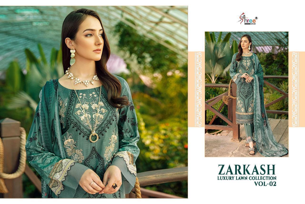 Shree Fabs Zarkash Luxury Lawn Collection Vol 2 Salwar Suit Wholesale Catalog 7 Pcs 4 - Shree Fabs Zarkash Luxury Lawn Collection Vol 2 Salwar Suit Wholesale Catalog 7 Pcs