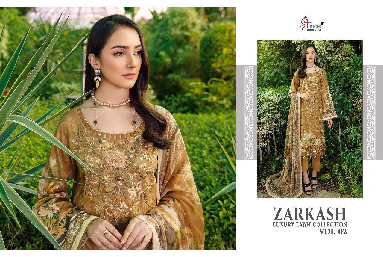 Shree Fabs Zarkash Luxury Lawn Collection Vol 2 Salwar Suit Wholesale Catalog 7 Pcs 5 - Shree Fabs Zarkash Luxury Lawn Collection Vol 2 Salwar Suit Wholesale Catalog 7 Pcs