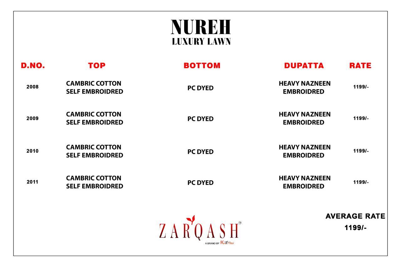 Zarqash Nureh Luxury Lawn by Khayyira Salwar Suit Wholesale Catalog 4 Pcs 7 - Zarqash Nureh Luxury Lawn by Khayyira Salwar Suit Wholesale Catalog 4 Pcs
