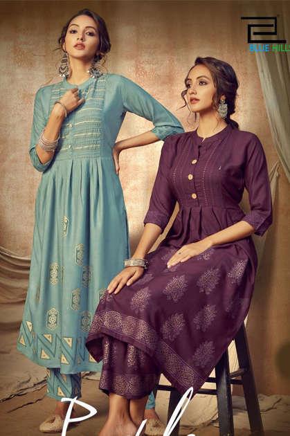Blue Hills Purple Vol 1 Kurti with Bottom Wholesale Catalog 8 Pcs