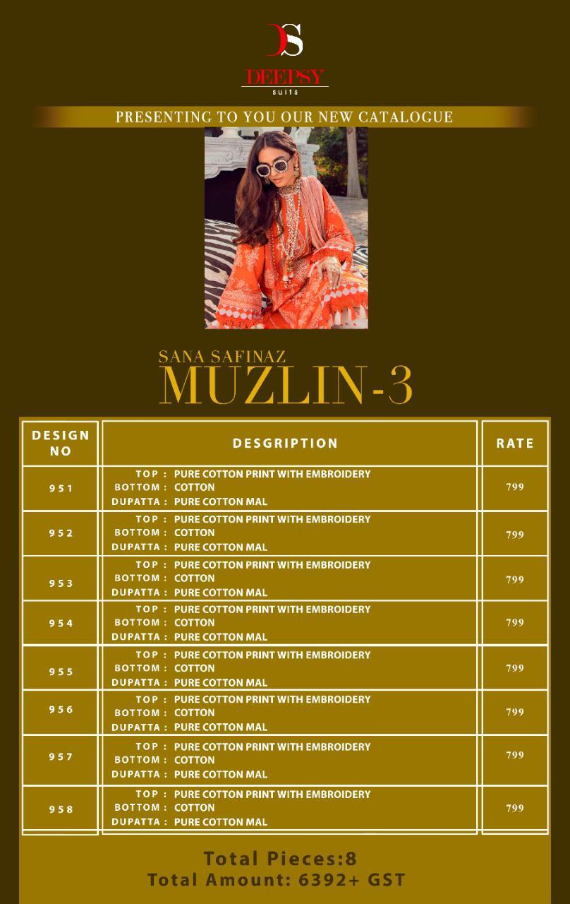 Deepsy Sana Safinaz Muzlin Vol 3 Salwar Suit Wholesale Catalog 8 Pcs 12 - Deepsy Sana Safinaz Muzlin Vol 3 Salwar Suit Wholesale Catalog 8 Pcs