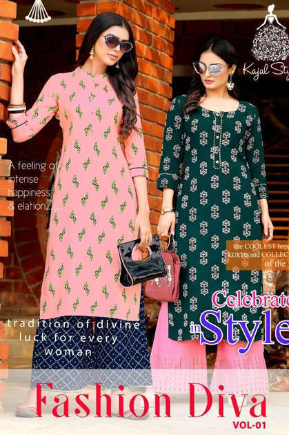 Kajal Style Fashion Diva Vol 1 Kurti with Palazzo Wholesale Catalog 8 Pcs
