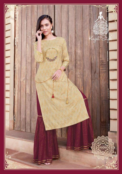 Kajal Style Fashion Label Vol 7 Kurti with Palazzo Sharara Wholesale Catalog 10 Pcs 7 510x725 - Kajal Style Fashion Label Vol 7 Kurti with Palazzo Sharara Wholesale Catalog 10 Pcs
