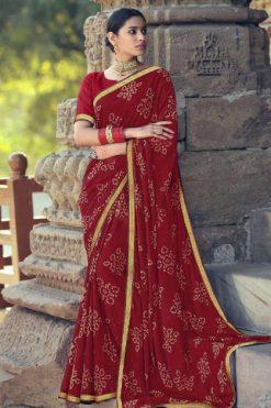 Kashvi Sawan Red by Lt Fabrics Saree Sari Wholesale Catalog 10 Pcs