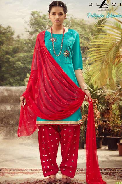 Z Black Patiyala Bhandani Readymade Salwar Suit Wholesale Catalog 6 Pcs