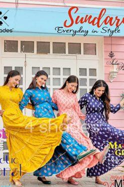 4 Shades Sundari Vol 1 by Blue Hills Kurti Wholesale Catalog 6 Pcs