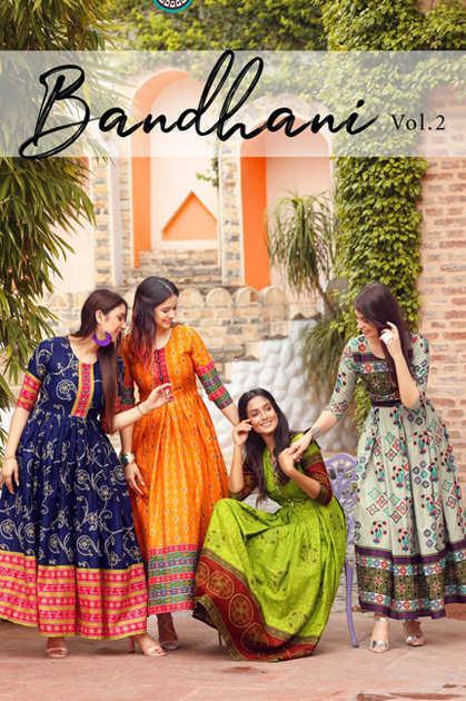 Aradhna Bandhani Vol 2 Kurti Wholesale Catalog 13 Pcs
