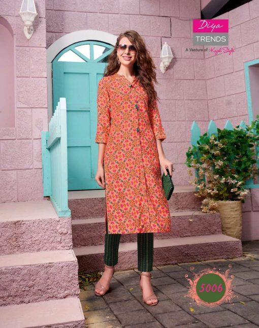 Diya Trends Fashionista Vol 1 by Kajal Style Kurti with Pant Wholesale Catalog 12 Pcs 13 510x646 - Diya Trends Fashionista Vol 1 by Kajal Style Kurti with Pant Wholesale Catalog 12 Pcs