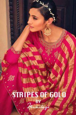 Hermitage Clothing Stripes of Gold Salwar Suit Wholesale Catalog 8 Pcs