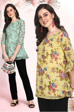 Jelite Georgette Tunics Vol 1 Tops Wholesale Catalog 6 Pcs