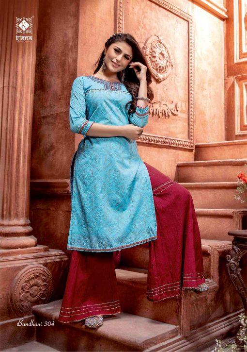 Kiana Bandhani Vol 3 Kurti with Sharara Wholesale Catalog 8 Pcs 7 510x725 - Kiana Bandhani Vol 3 Kurti with Sharara Wholesale Catalog 8 Pcs