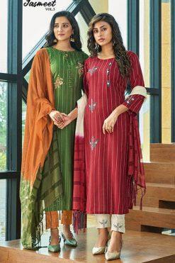 Ladies Flavour Jasmeet Vol 3 Kurti with Bottom Dupatta Wholesale Catalog 6 Pcs