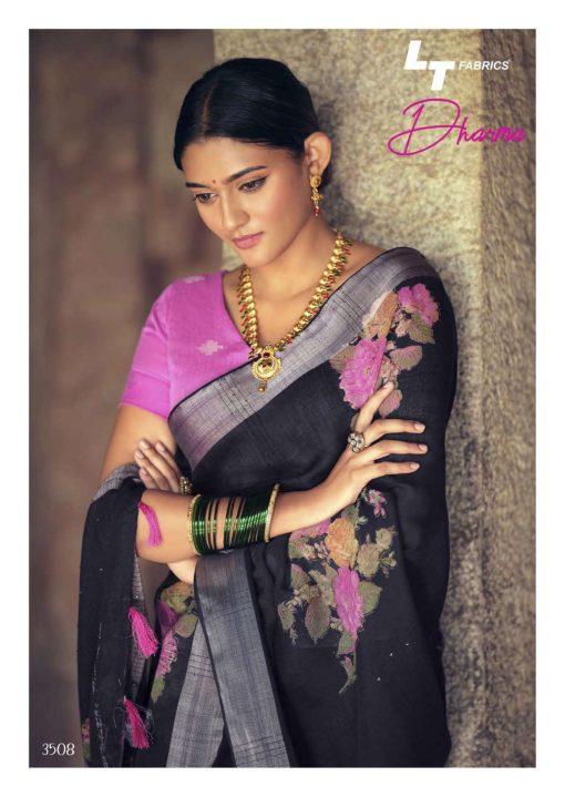 Lt Fabrics Dharma Saree Sari Wholesale Catalog 10 Pcs 17 510x719 - Lt Fabrics Dharma Saree Sari Wholesale Catalog 10 Pcs
