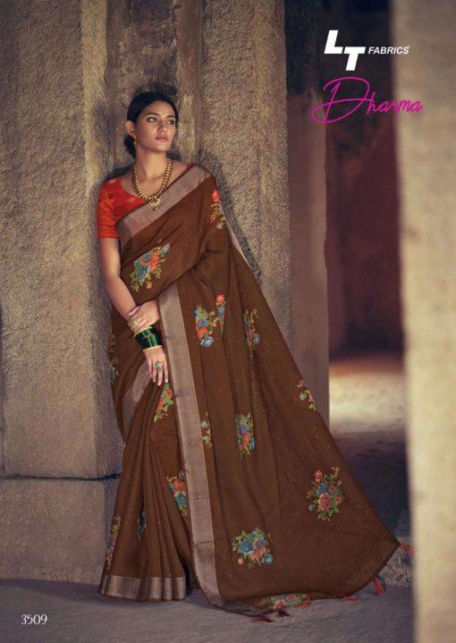 Lt Fabrics Dharma Saree Sari Wholesale Catalog 10 Pcs 19 510x719 - Lt Fabrics Dharma Saree Sari Wholesale Catalog 10 Pcs