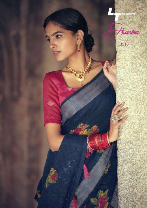 Lt Fabrics Dharma Saree Sari Wholesale Catalog 10 Pcs 22 510x719 - Lt Fabrics Dharma Saree Sari Wholesale Catalog 10 Pcs