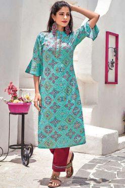 Vitara Bandhej Kurti with Pant Wholesale Catalog 4 Pcs
