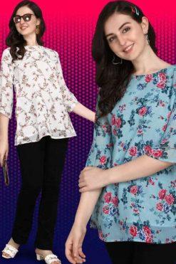 Jelite Georgette Tunics Vol 2 Tops Wholesale Catalog 6 Pcs