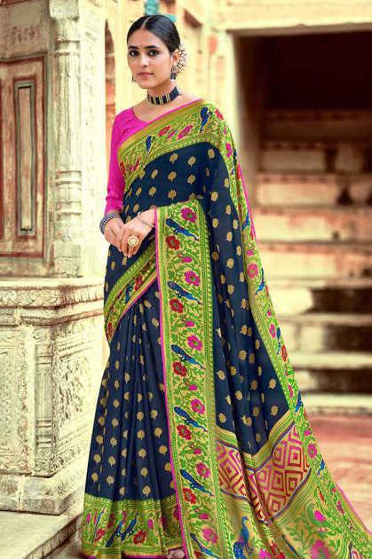 Kashvi Paithani Silk by Lt Fabrics Saree Sari Wholesale Catalog 10 Pcs