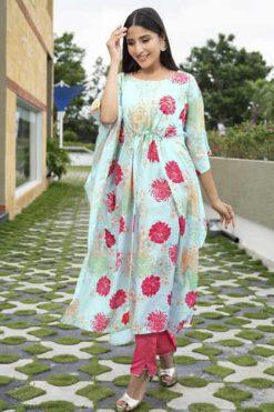 Psyna Poncho Kaftan Kurti with Pant Wholesale Catalog 5 Pcs