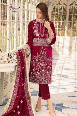 Shree Fabs Shaista Embroidered Velvet Collection Salwar Suit Wholesale Catalog 5 Pcs